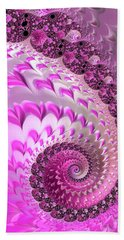 Pink Spiral With Lovely Hearts Bath Towel by Matthias Hauser