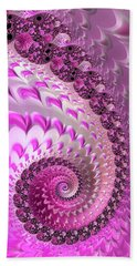 Pink Spiral With Lovely Hearts Bath Towel