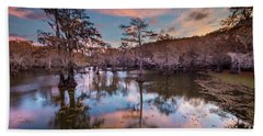 Pink Sunrise At Caddo Lake Hand Towel