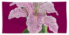 Hand Towel featuring the digital art Pink Tiger Lily Blossom by Walter Colvin