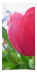 Pink Tulip Bath Towel