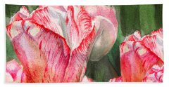 Pink Tulips By Irina Sztukowski Hand Towel