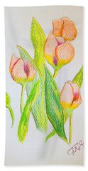 Hand Towel featuring the drawing Pink Tulips by J R Seymour