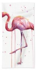 Pink Watercolor Flamingo Hand Towel