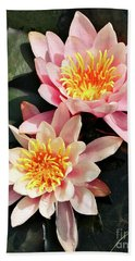 Pink Waterlilies Close Up Hand Towel