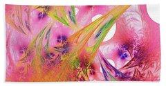 Hand Towel featuring the digital art Pink Web by Deborah Benoit