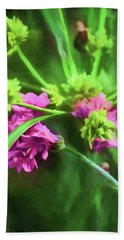 Pink Wildflowers Hand Towel by Bonnie Bruno
