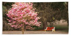 Pinky And The Bench - Impressionism Hand Towel