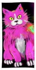 Hand Towel featuring the painting Pinky Dizzycat by DC Langer