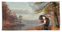 Pinto Horse On A Riverside Trail Hand Towel by Daniel Eskridge