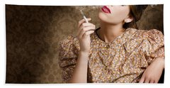 Pinup Portrait Of A Smoking Woman Blowing Hearts Hand Towel