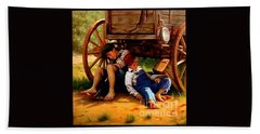 Bath Towel featuring the painting Pioneer Boys Napping On The Trail by Peter Gumaer Ogden