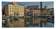 Hand Towel featuring the photograph Piran Marina Reflections #2 by Stuart Litoff