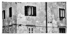 Hand Towel featuring the photograph Piran Windows - Slovenia by Stuart Litoff