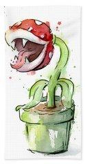 Piranha Plant Watercolor Hand Towel