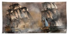 Pirate Battle Hand Towel by Daniel Eskridge