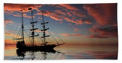 Pirate Ship At Sunset Bath Towel