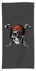 Skull 8 T-shirt Bath Towel by Herb Strobino