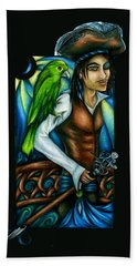 Pirate With Parrot Art Bath Towel