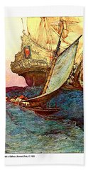 Pirates Attacking A Galleon, Howard Pyle Bath Towel