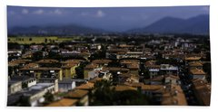 Bath Towel featuring the photograph Pisa Rooftops by Chris Coffee