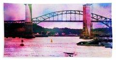 Piscataqua River Bridge From Harborwalk Park, Portsmouth New Hampshire Hand Towel