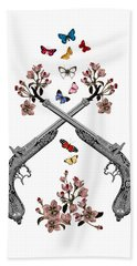 Pistols Wit Flowers And Butterflies Bath Towel