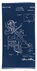Pitch Fork Fiddle And Drum Patent 1936 - Blue Hand Towel