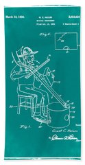 Pitch Fork Fiddle And Drum Patent 1936 - Green Hand Towel