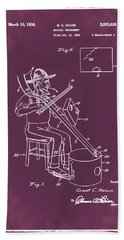 Pitch Fork Fiddle And Drum Patent 1936 - Red Hand Towel