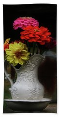 Pitcher And Zinnias Bath Towel