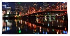 Pittsburgh Lights Hand Towel by Frozen in Time Fine Art Photography