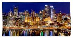 Pittsburgh Pennsylvania Skyline At Night Panorama Hand Towel