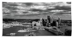 Pittsburgh Skyline With Boat Bath Towel by Michelle Joseph-Long