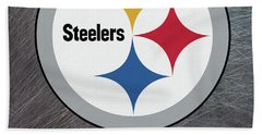 Pittsburgh Steelers On An Abraded Steel Texture Hand Towel