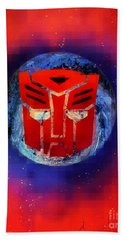 Pixeled Autobot Bath Towel by Justin Moore
