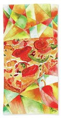 Hand Towel featuring the painting Pizza Pizza by Paula Ayers