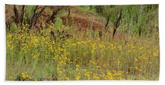 Hand Towel featuring the photograph Plains Coreopis by Maria Urso