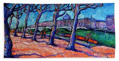 Plane Trees Along The Rhone River - Spring In Lyon By Mona Edulesco Bath Towel
