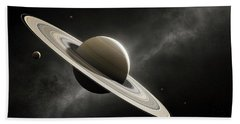 Planet Saturn With Major Moons Hand Towel