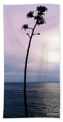 Hand Towel featuring the photograph Plant Silhouette Over Ocean by Mariola Bitner