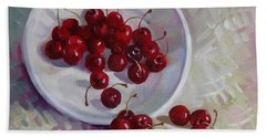 Plate With Cherries Bath Towel