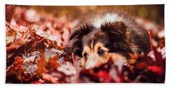 Playful Autumn Dog Hand Towel