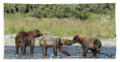Bath Towel featuring the photograph Playful Cubs by Cheryl Strahl