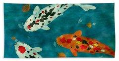 Playful Koi Fishes Original Acrylic Painting Bath Towel