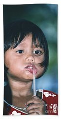 Bath Towel featuring the photograph Playful Little Girl In Thailand by Heiko Koehrer-Wagner