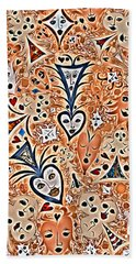 Playing Card Symbols With Faces In Rust Bath Towel