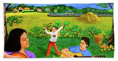 Playing Melodies Under The Shade Of Trees Bath Towel by Lorna Maza