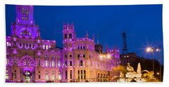Plaza De Cibeles In Madrid Hand Towel