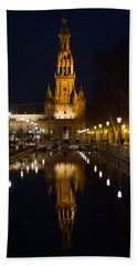Plaza De Espana At Night - Seville 6 Bath Towel by Andrea Mazzocchetti